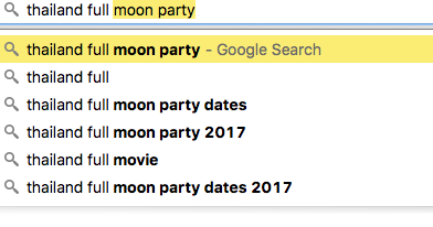 Google search Thailand full moon party