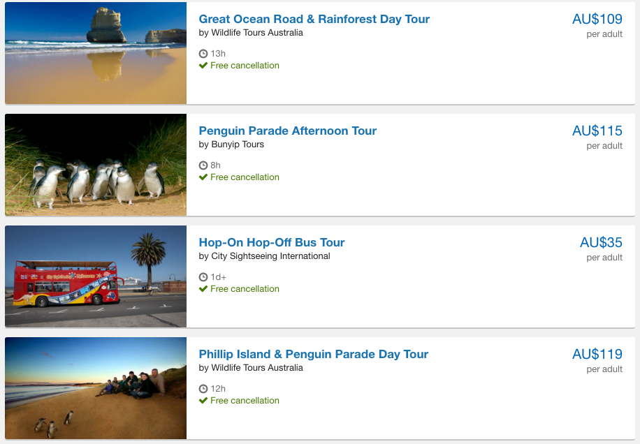 Expedia's activity offerings
