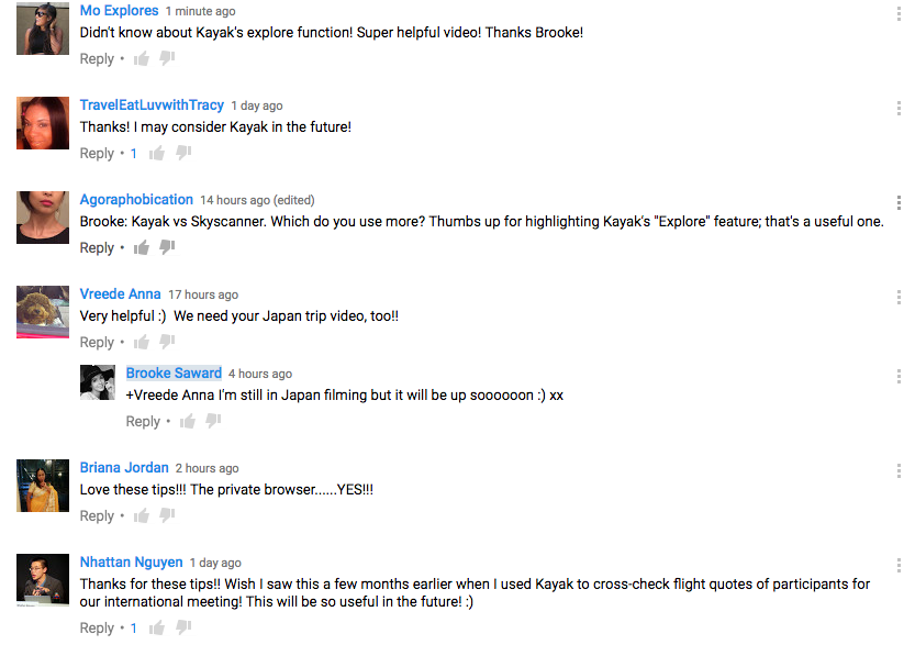 Comments on social influencer World of Wanderlust's tips on Youtube