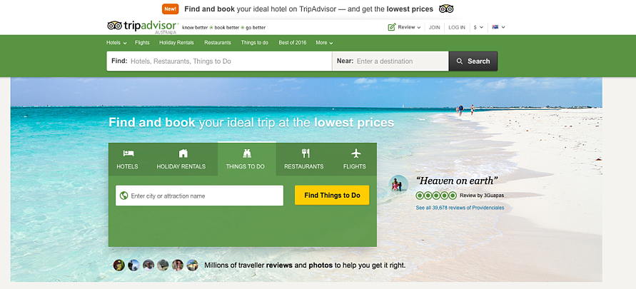 TripAdvisor's new homepage design promoting tours, activities and attractions
